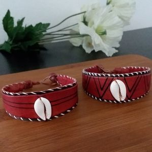 2PC Beautiful African Red Leather Bracelet Set